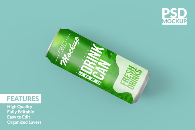 Editable realistic floating left long drink cans mock up design template