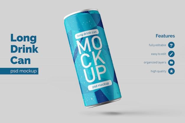 Editable realistic floating left long metal drink can mockup design template