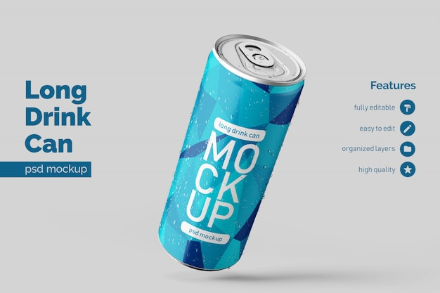 Editable realistic floating right long aluminium drink can mockup design template