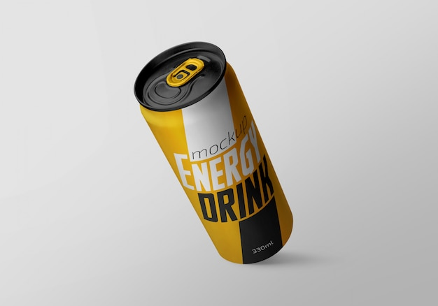 Editable realistic long aluminium drink can mockup