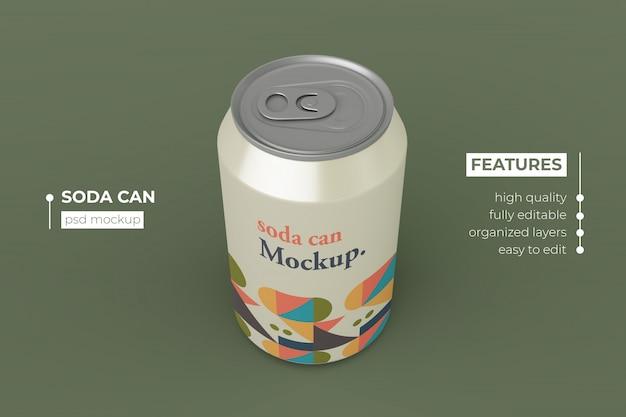 Editable realistic metallic soda can mockup design