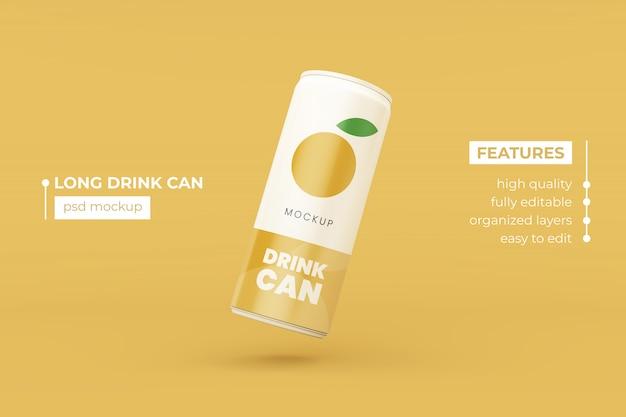 Editable realistic thin aluminum drink can mock up design template premium psd