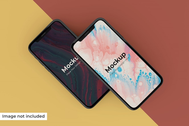 Editable realistic two mobile screen leaning left in top view
