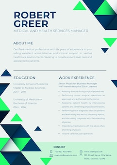 Editable resume template psd in abstract design with photo