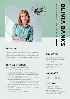 Editable resume template psd in minimal botanical theme with photo