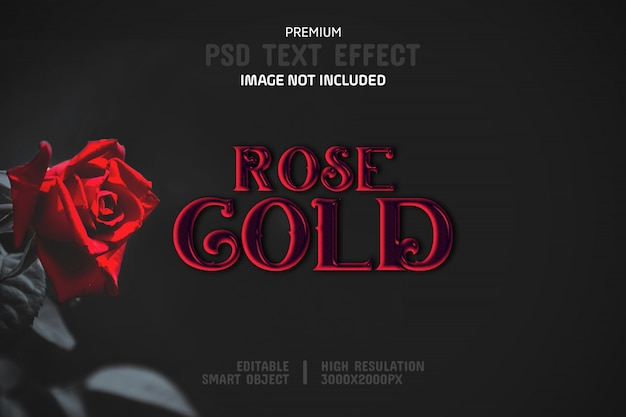 Editable rose gold text effect template