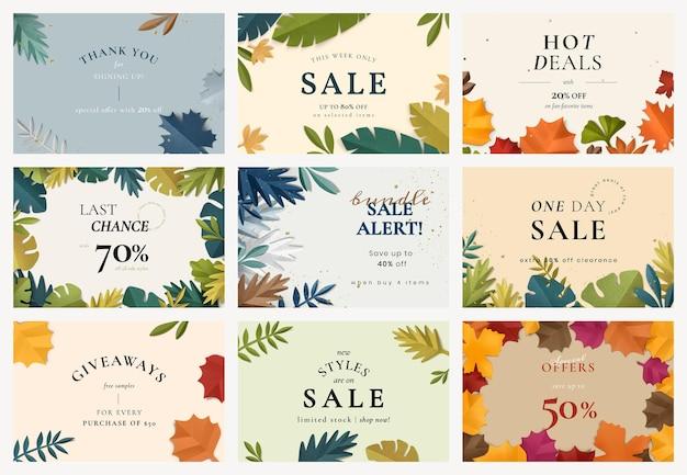 Modello di banner di vendita modificabile psd in set di stile artigianale di carta