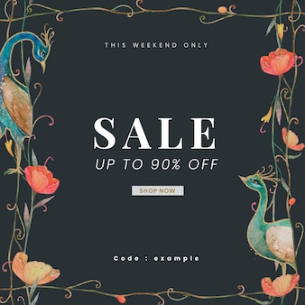 Editable sale banner template with watercolor peacocks and flowers