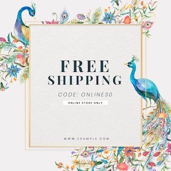 Editable sale template with watercolor peacocks and flowers