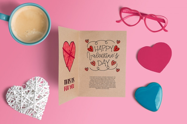 Editable scene creator mockup with valentines day concept