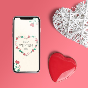Editable scene creator mockup with valentines day concept