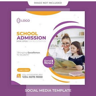 Editable school admission free square template