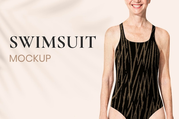 Редактируемый макет купальника для пожилых людей в формате psd для рекламы летней одежды