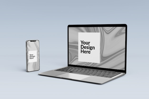편집 가능한 세트 디지털 장치 화면 스마트 폰 및 노트북 모형