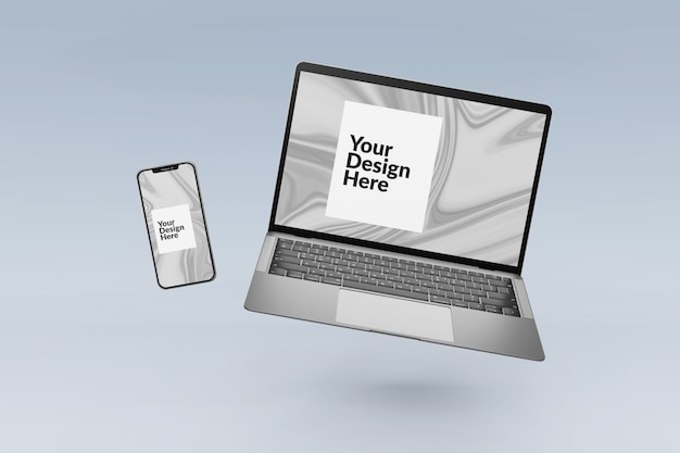 Editable set digital devices screen smartphone and laptop mockup