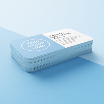 Editable showcase of a stack of 90x50 mm horizontal business card with rounded corners mock up design template in lower perspective view