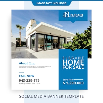Editable simple minimalist home for sale real estate banner promotions