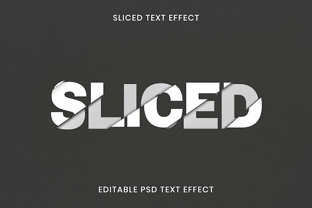 Modello psd con effetto di testo affettato modificabile
