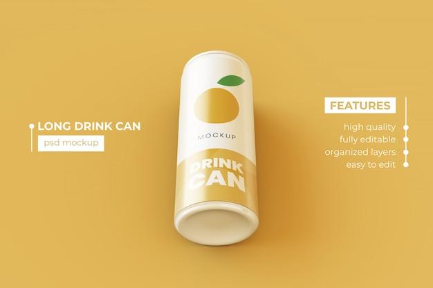 Editable slim metallic drink can mockup design template premium psd