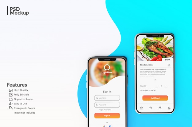 Editable smartphone mock ups to display food app concept template