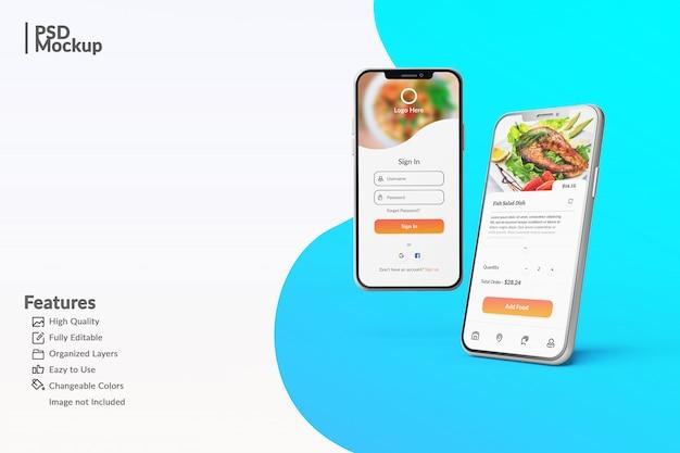 Editable smartphone mock ups to display food app concept template