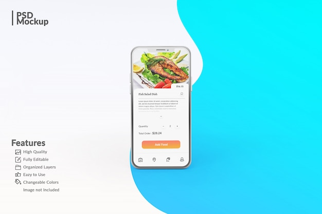 Редактируемый макет смартфона для отображения шаблона приложения еды