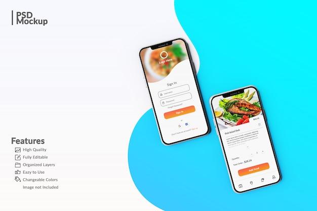 食品アプリのコンセプトテンプレートを表示する編集可能なスマートフォンのモックアップ