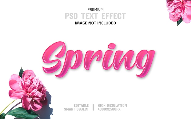 Editable spring text effect template