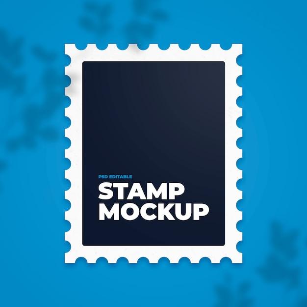 Редактируемый штамп на синем фоне макета