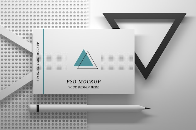 Editable stationery psd mockup with single business card and geometric elements