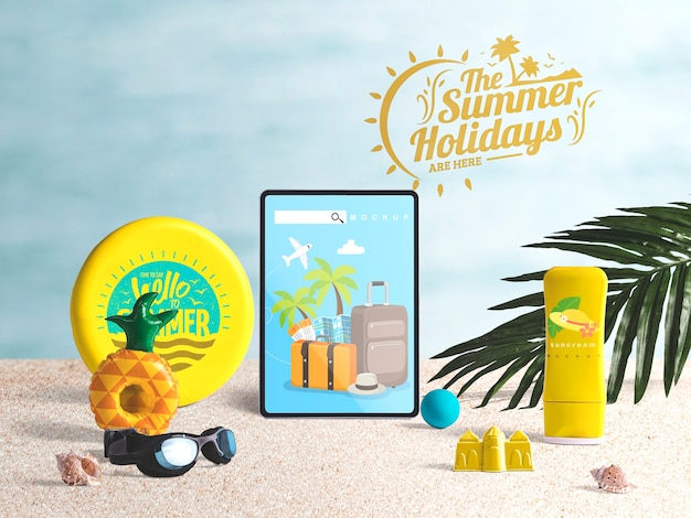 Editable tablet mockup with summer elements