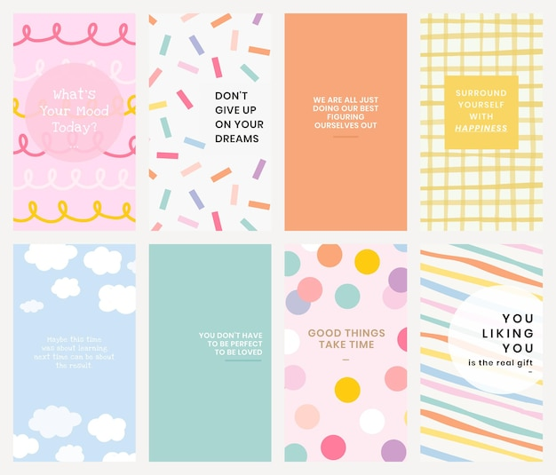Editable template psd set for social media story in various art styles with inspirational texts