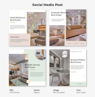 Editable template social post banner furniture minimalist design