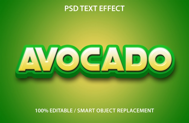 Editable text effect avocado fruit premium
