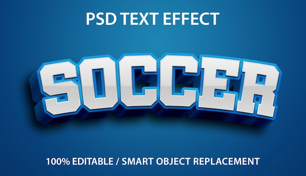 Editable text effect blue soccer