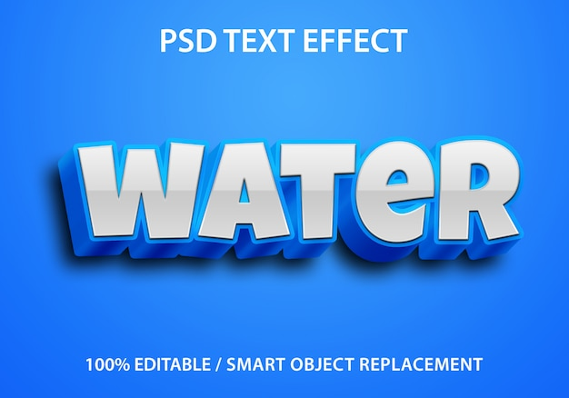 Editable text effect blue water premium