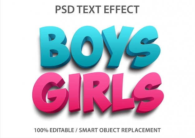 Editable text effect boys and girls
