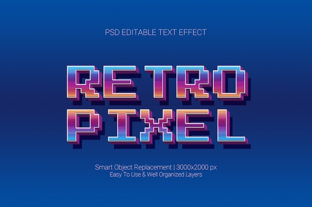 Editable text effect classic retro game pixel in 3d