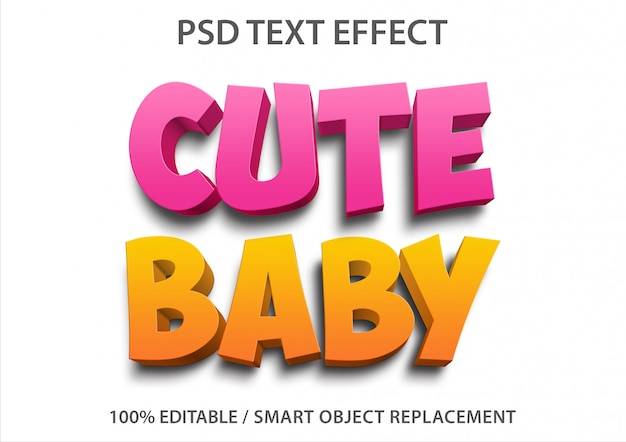 Editable text effect cute baby