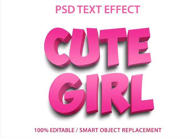 Редактируемый текстовый эффект cute girl