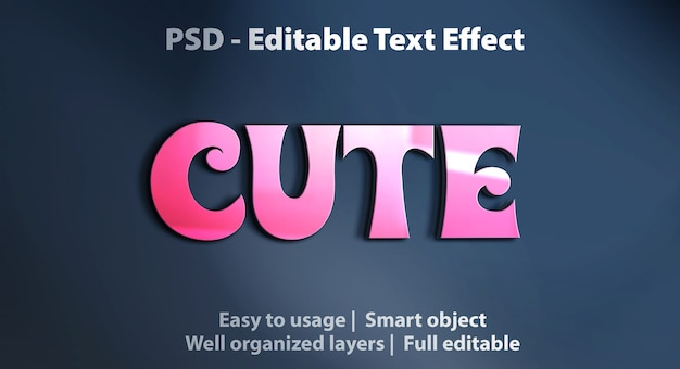 Editable text effect cute pink