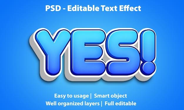 편집 가능한 텍스트 효과 cute yes premium
