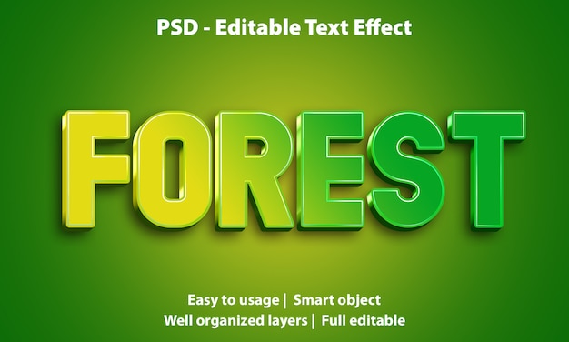 Editable text effect forest premium