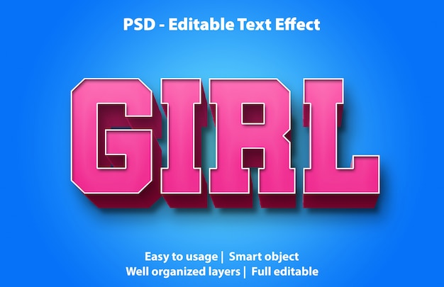 Editable text effect girl