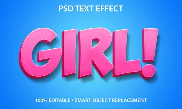 Редактируемый текстовый эффект девушка
