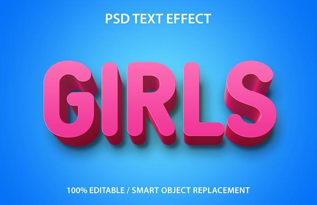 Editable text effect girls