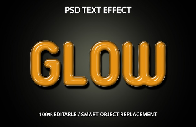 Editable text effect glow