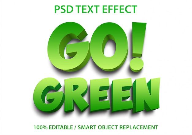 Редактируемый текстовый эффект go green