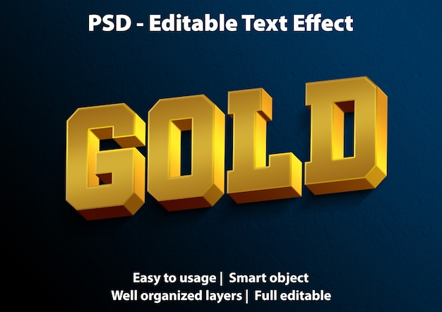 Editable text effect gold