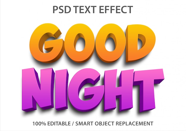 Editable text effect good night